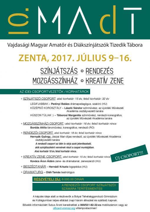 MAdT felhívás – a Vajdasági Magyar Amatőr és Diákszínjátszók Tizedik Tábora