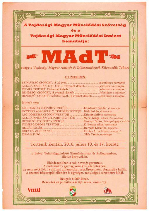 MAdT – a Vajdasági Magyar Amatőr és Diákszínjátszók Kilencedik Tábora