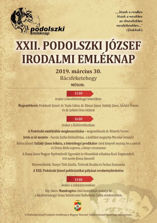 XXII. Podolszki József Irodalmi Emléknap